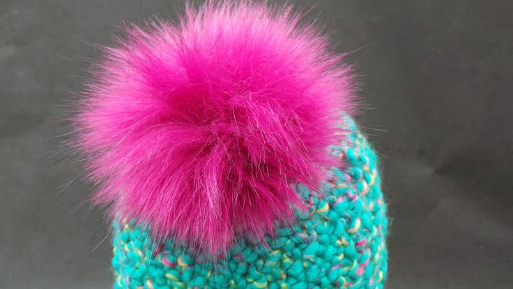 Kids Spare Magenta Pink Faux Fur Pom Pom Bobble for hat. With press stud. Extra long fur. Large Detachable pom pom by CowlingCountryCrafts on Etsy