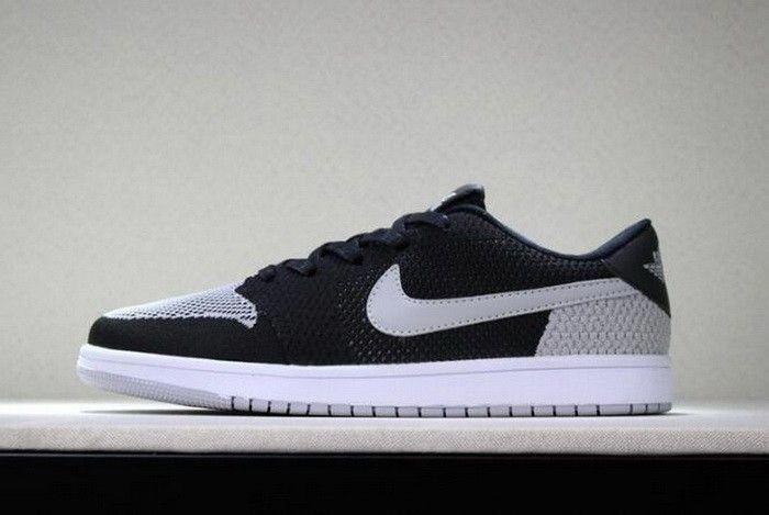 size 40 1e2a3 5b112 New Air Jordan 1 Low Flyknit Shadow Black Wolf Grey-White Mens Basketball  Shoes  mensbasketball