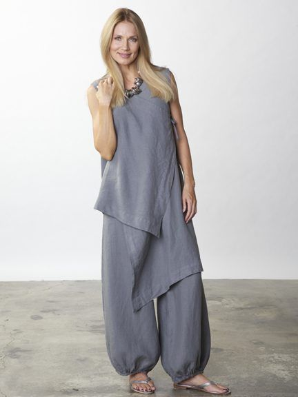 Bryn Walker - w/ Zen Vest pic 1 color is n/a This Light Linen pant is a stunning garment. Its very loose elastic legs create a carefree and confident form while the flat front presents a svelte appearance. The comfortable elastic back softens the silhouette with gentle gathers