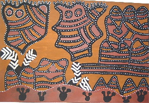 Jack Britten  Gualoring Dreamtime  Ochres on Canvas  152 x 102 cm  $20,000 AUD  Documentation refers to the story of two snakes who come out from water underground, & who will take & drown passers by. From left to right across top: munaring (father), wiggin (son) & gnunamunny (old people), who come out & dance with garnalum (feathers) on their heads; the white paint is body paint or mowandoo; to the far right is gowarling or little hills; & across the bottom are numbaroo (crabs)
