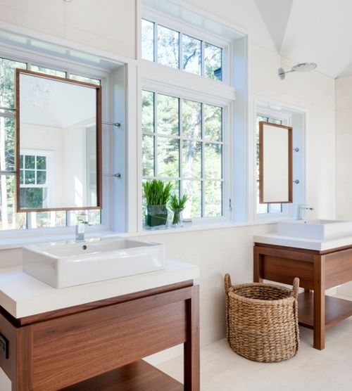 ARTICLE: Hang a Mirror On a Window - 12 Bright, Beautiful Examples | #bathroom. #vanity