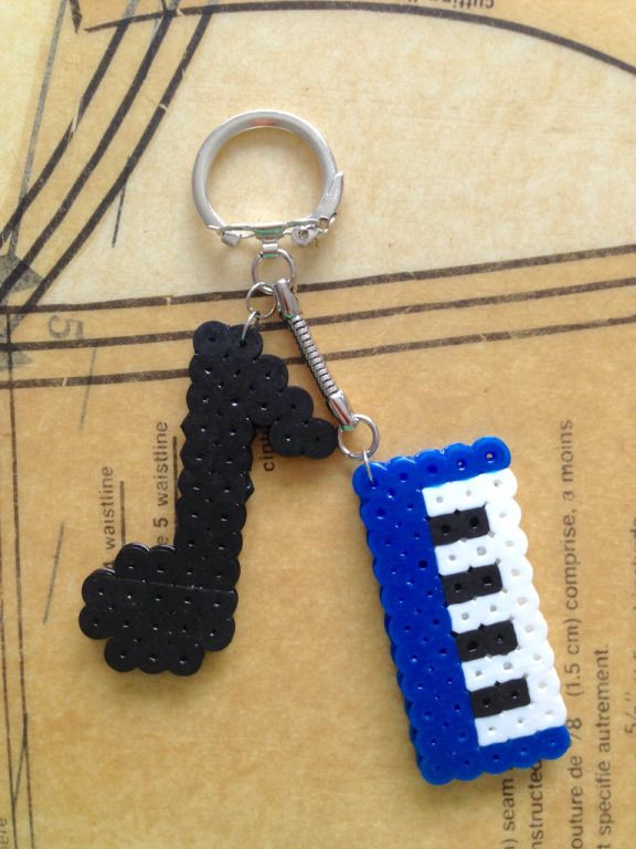 Orange You Crafty - perler bead music keychain - music teacher gift idea
