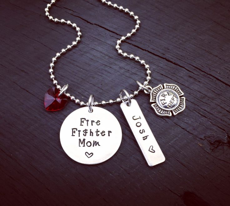 Fire Fighter Mom Necklace | Fireman Mom Jewelry | Firefighter Mom Jewelry | Gift For A Firefighter's Mom | Gift For A Fireman's Mom From Son by SecretHillStudio on Etsy https://www.etsy.com/listing/478925702/fire-fighter-mom-necklace-fireman-mom