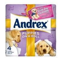 Blipp any Andrex pack to train your own Andrex puppy and donate to support the training of British guide dog puppies