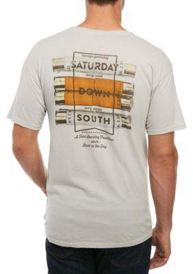 Saturday Down South Men's Short Sleeve Pocket Shell Stripe Tee - Light Gray - 2Xl
