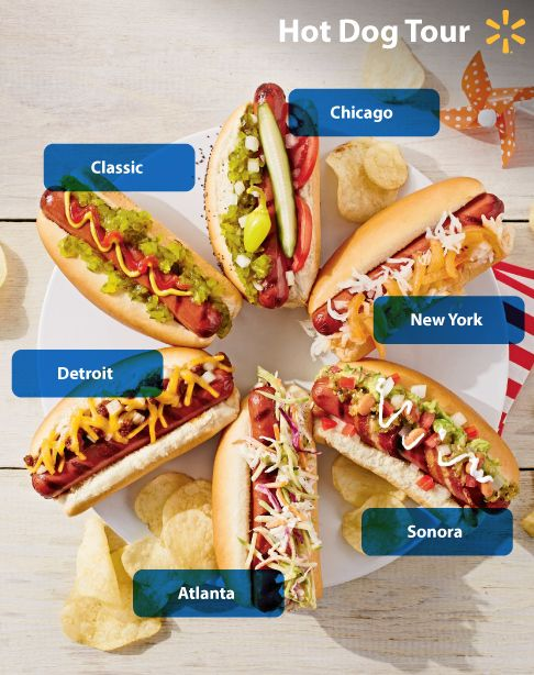 Hot Dogs, USA! Celebrate local cuisine with classic hot dog styles from around the country. From Chicago style with dill pickles & sport peppers to Texas style with chili con carne & cheese, there's a lot more to topping your dog than just mustard.