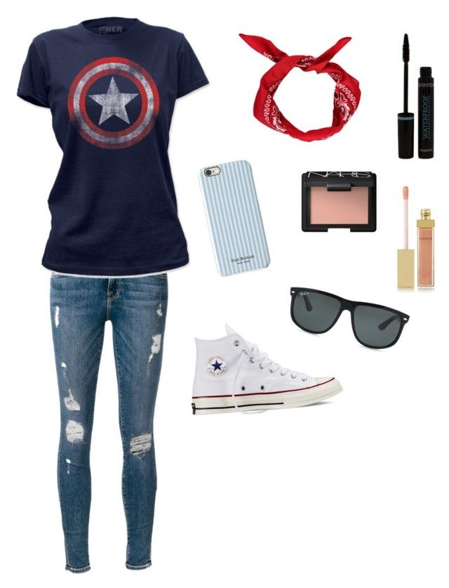 """Cute captain America outfit"" by beautystars123 ❤ liked on Polyvore featuring Boohoo, Frame Denim, Converse, AERIN, NARS Cosmetics, Ray-Ban and Isaac Mizrahi"
