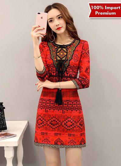 Dress Import Premium Tassel Printing 580PR  | shopasista.com | Distributor baju import | distributor baju korea | grosir baju korea | grosir baju import | supplier baju korea tangan pertama | importir baju korea
