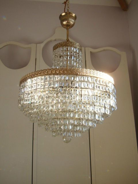 ~ stunning large vintage french 6 tier crystal chandelier ~ in Home, Furniture & DIY, Lighting, Ceiling Lights & Chandeliers | eBay