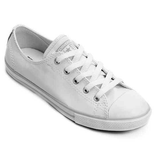 Tênis Converse All Star Ct As Dainty Leather Ox - Branco+Cinza