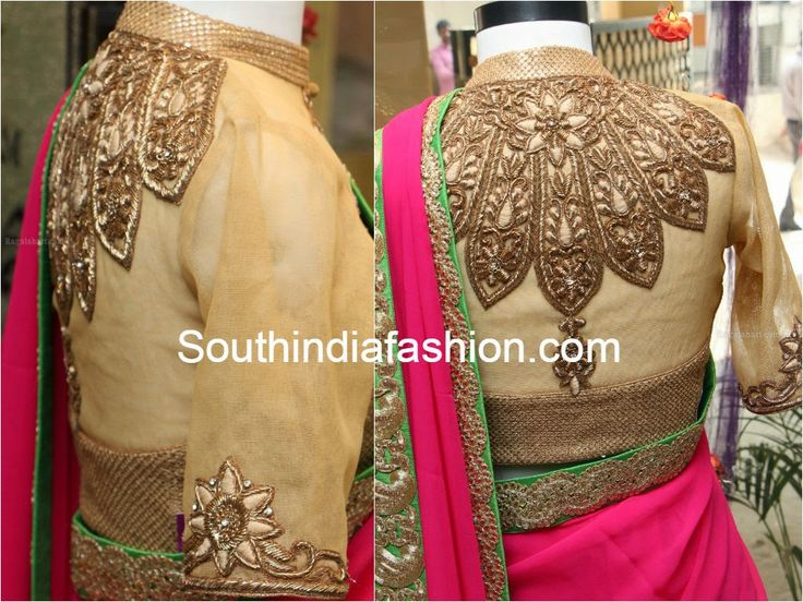 Gold High Neck Embroidered Blouse ~ Celebrity Sarees, Designer Sarees, Bridal Sarees, Latest Blouse Designs 2014