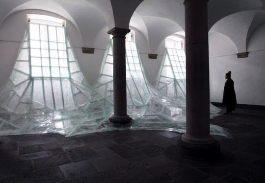 Aerial | Baptise Debombourg.  Shattering glass flooding into a room of Brauweiler Abbey in Germany.  http://www.baptistedebombourg.com/news