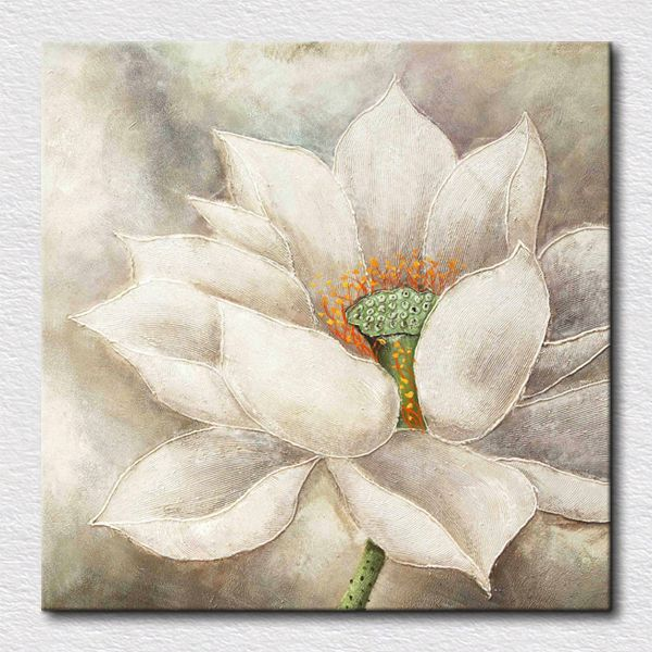 Blanco flor de loto de pintura al leo hermosas pinturas for Pinturas para dormitorios