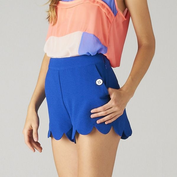 Cobalt Blue Scalloped Shorts from Picsity.com