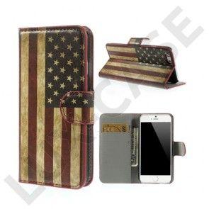 Moberg (Vintage USA Flag) iPhone 6 Læder Flip Etui