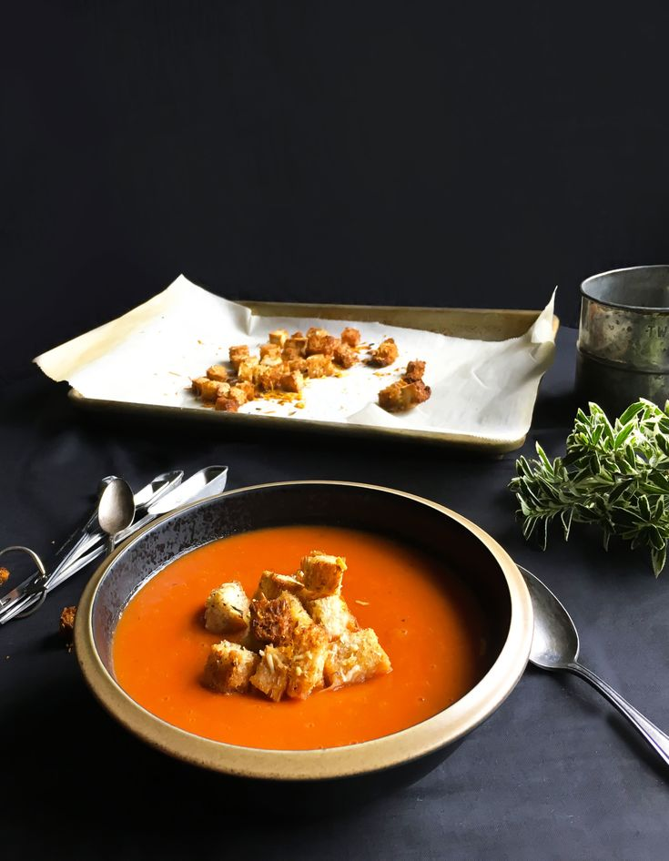 Creamy tomato and white bean soup with Parmesan cheese croutons | Sparks and Bloom