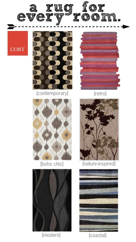 Every room in your home has its own unique use and therefore, its own personality. Choose a rug that fits the mood of your room and know that you'll always feel comfortable! | To see these and more rugs that CORT offers, see go.cort.com/2u4