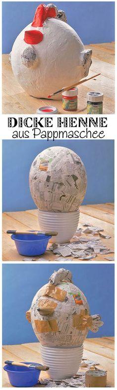 Die dicke Henne Berta kannst du selbst machen – aus Pappmaschee. Dafür brauchst du nur einen Luftballon, Kleister, Zeitungspapier und Farbe und schon kann es los gehen. Wichtig: Gut trocknen lassen, bevor man die Henne bemalt. Wir zeigen, wie man die Henne zu Ostern selbst macht.