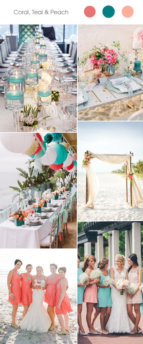 coral, teal and peach wedding color combination ideasl
