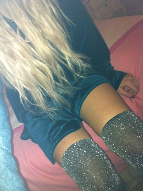 Glastonbury Festival Fashion Inspiration. Glitter Lurex over the knee thigh high socks, welly socks, sparkle