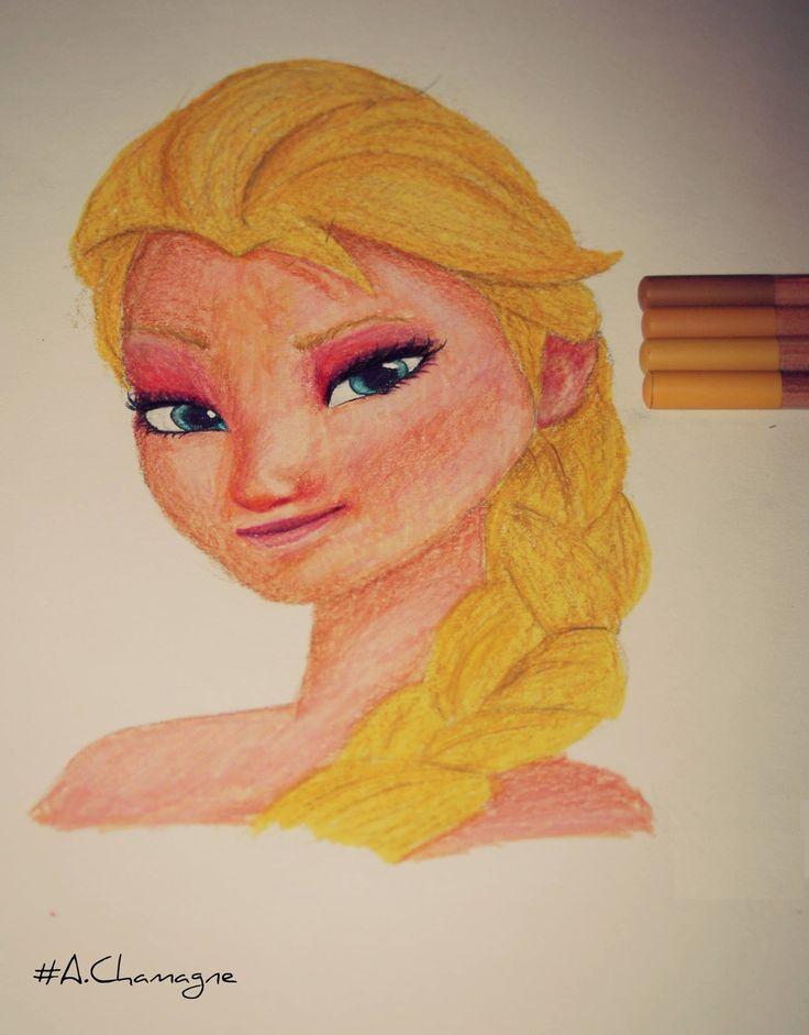 Passion Of Drawing reine des neiges achamagne artiste dessins disney visage couleur