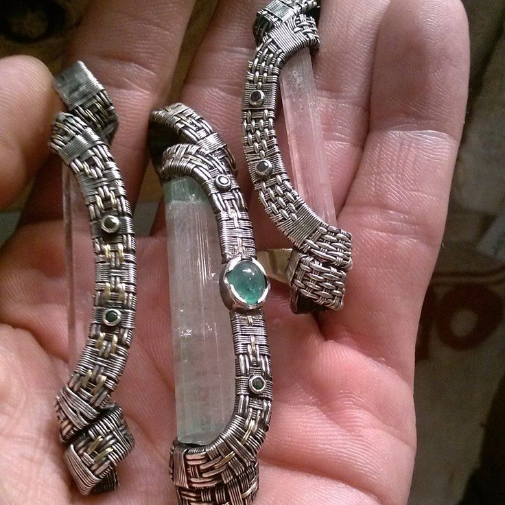 Intricate Wire Weaving Around Terminated Crystal Points