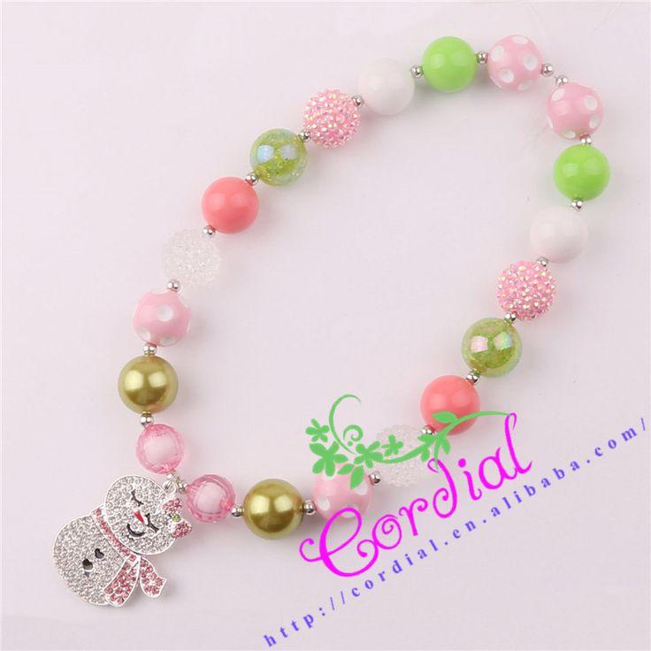 Hot Sale Cordial Design Kids Jewelry Handmade Chunky Baby Bubblegum Bead Alloy Snowman Pendant Christmas Necklace CDNL-410418