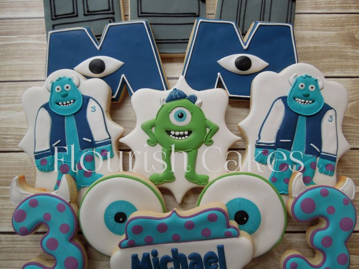 Monsters Inc Cookies, Sully Cookies, Mike Cookies, Disney Cookies, Cookie Favors by FlourishCookies on Etsy https://www.etsy.com/listing/209999018/monsters-inc-cookies-sully-cookies-mike