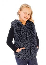 Faux Fur Vest- Charcoal