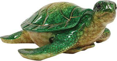 """10"""""""" Hawaiian Sea Turtle Lidded Keepsake Box Green"""