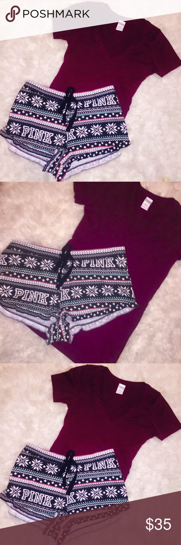Burgundy VS Pink Shorts & Shirt Victoria secret pink shorts & shirt bundle  NWOT  Soooo Cute - ex small & medium This purchase includes 1 Burgundy maroon V-neck short sleeve cotton T-shirt size extra small longer fit 1 pink winter print shorts, with snowflakes, short shorts, size medium.  Both items are new without the tags perfect condition. They come from a pet free smoke free home PINK Victoria's Secret Shorts