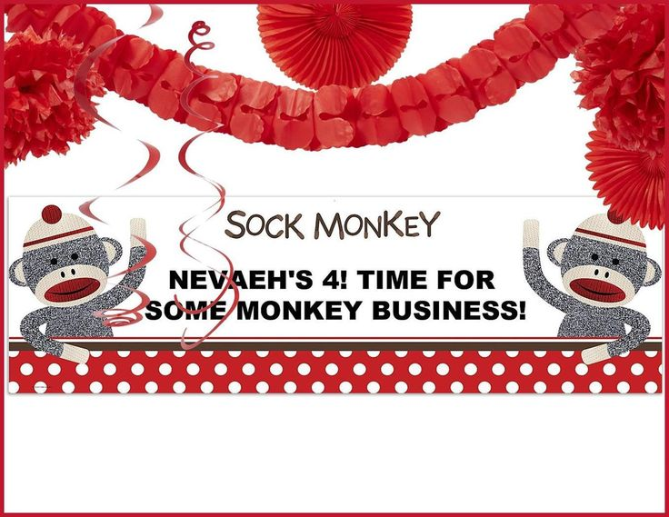 PartyBell.com - Sock Monkey Decor Kit