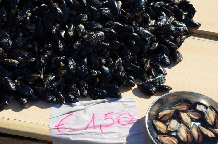 Fresh seafood at the fish market in Bari, Italy