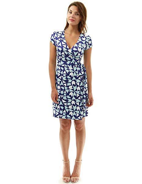 85c0eaa37685 PattyBoutik Women Cap Sleeve Faux Wrap Print Dress (Navy