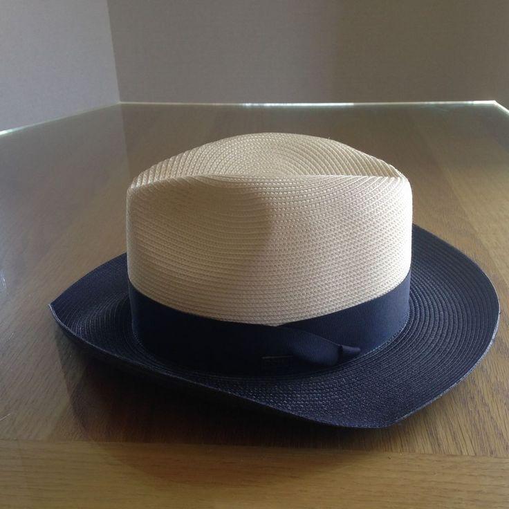 Dobb's Men's Straw Summer Hat  - Toledo - Ivory/Navy  - Size 6 7/8 #Dobbs #FedoraTrilby