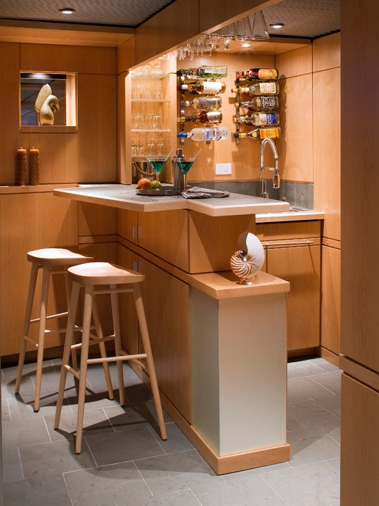 Basement Design, Interesting Small Bar Ideas For Basement With Simple  Wooden Bar Stool Also Unique Part 22