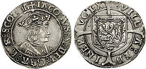 Groat of James V, Edinburgh mint, James V of Scotland - Father of Mary Queen of Scots - married to Mary of Guise