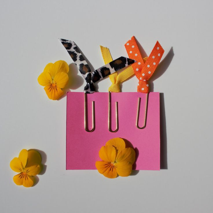 A personal favorite from my Etsy shop https://www.etsy.com/ca/listing/280069882/ribbon-paper-clips-gold-tropical
