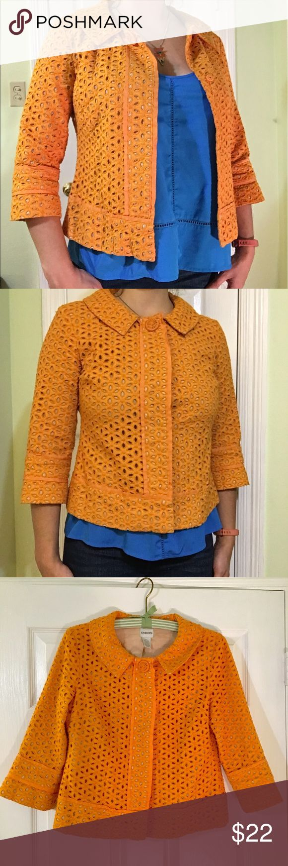 Chico's Orange Floral Eyelet Lace Jacket Perfect for spring or summer! The slight bell sleeves have a thick band feature edged with ribbon. This same feature is used around the bottom of the jacket. There are three snap buttons down the front with only the top snap at the collar accentuated by a large button. The jacket is completely lined with a 100% cotton fabric. Keep in mind Chico's sizes, fits like a S/M.                  Love this jacket, just don't go to enough garden parties…