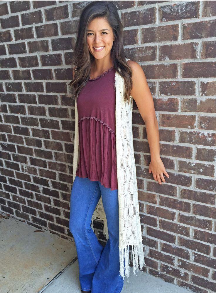 Long Crochet Vest with Fringe