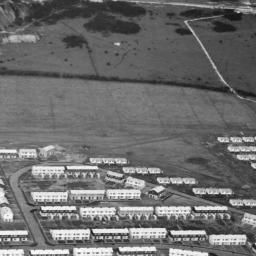 Housing surrounding Bude Close and Mousehole Road, Paulsgrove, 1948. This image was marked by Aerofilms Ltd for photo editing. | Britain from Above