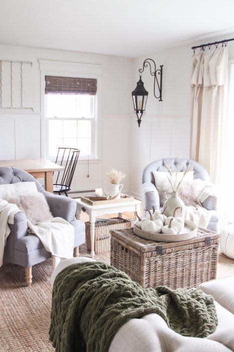 A beautiful farmhouse living room decorated with simple touches of fall!