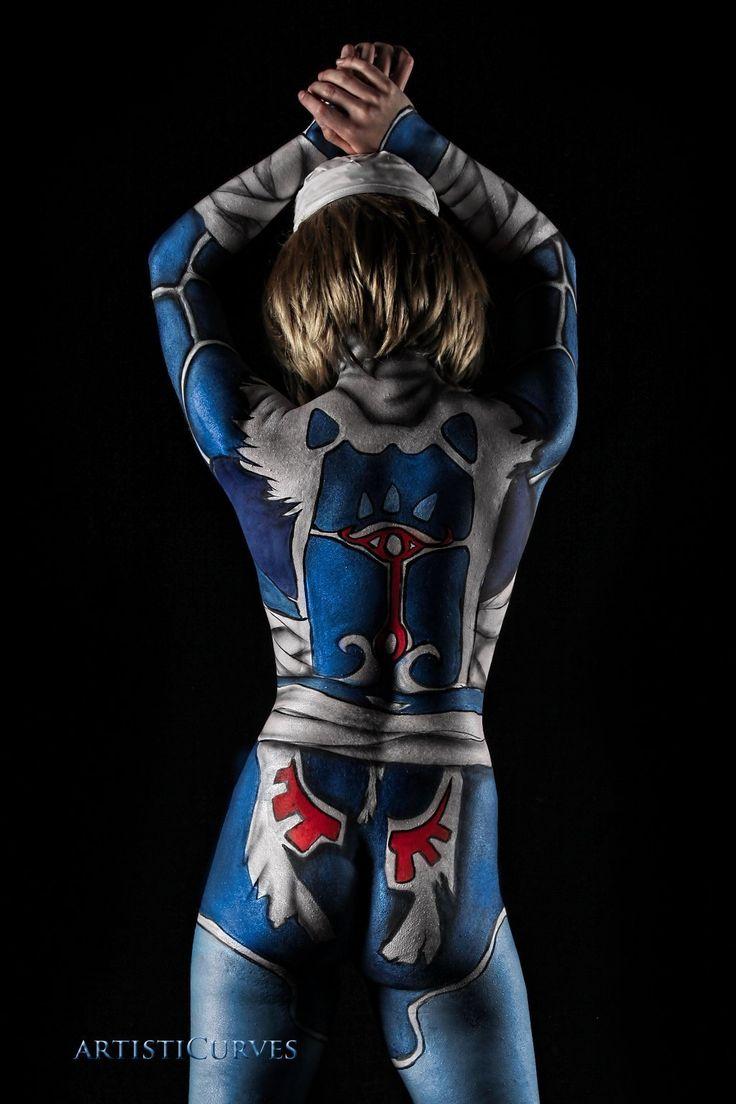 legend of zelda ocarina of time sheik sexy bodypaint