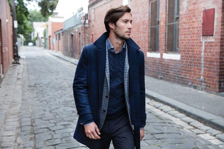 Franklin navy/grey coat; Barry blue jacket; Harvard navy knit; Angus denim shirt; Terrigal charcoal trouser.