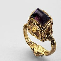 February's birthstone is the amethyst, a stone associated with courage and stability. Aedile ring: Gold, almandine, amethyst byzantine. 6th century A.D.