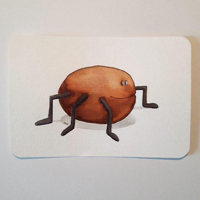 noch ein Kartoffelkäfer/ Aquarellpapier/Postkarte (hier: Leipzig Schleußig)