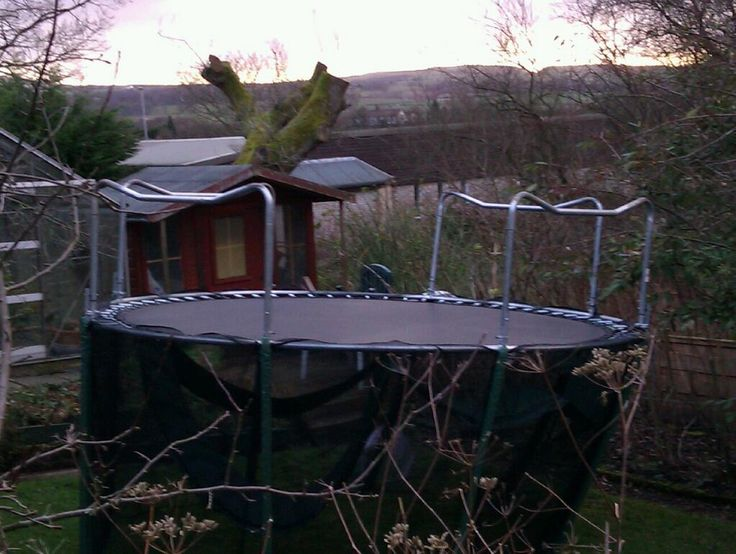 Next file's trampoline blown through the fence and now upside down in our garden!