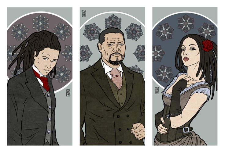 """steampunk drawing in Mucha style - """"Shatter"""" tryptich by Cserny Timi Pookah www.facebook.com/Vizvalaszto"""