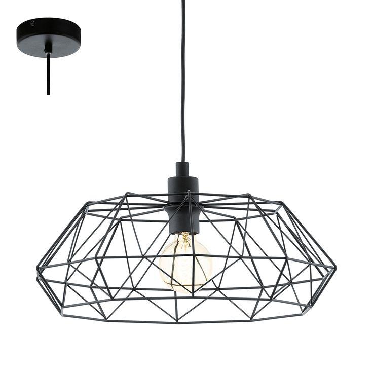 Lampa oprawa wisząca zwis żyrandol Eglo Carlton 2 1x60W E27 czarna 49487