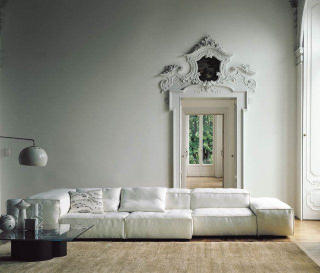 canapé contemporain en blanc modulable et confortable